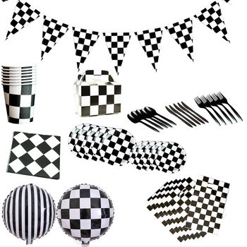 Plate Cup Black And White Checkered Racing Heme Party Speed Passion Racing Atmosphere Decoration Supplies image