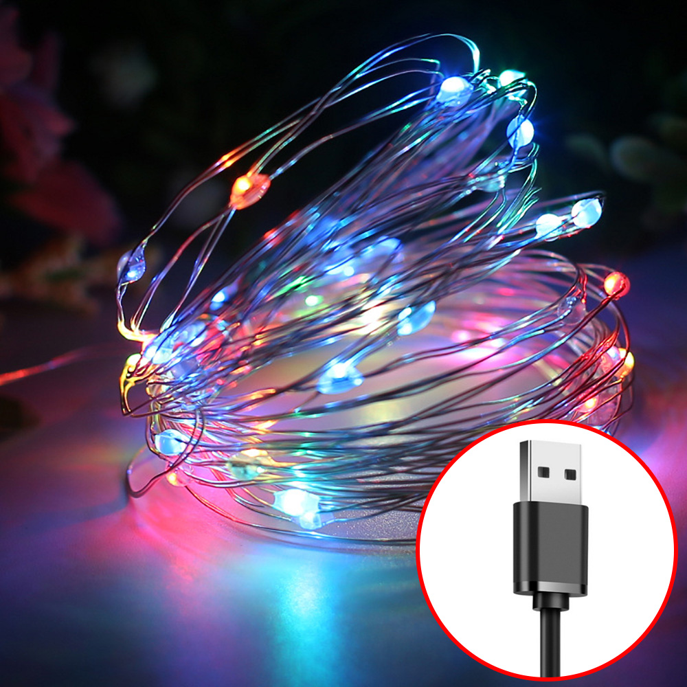 USB LED String Lights 5V 20M 10M 5M 2M Silver Wire Christmas Wedding Party Decoration Waterproof Fairy Light Garland For Home