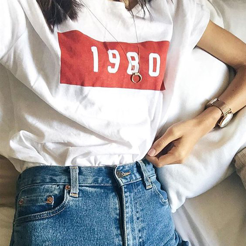 New Knitted T Shirts Women 1980 Tee Solid Ladies White Casual Top Female Summer T-shirt Autumn Print Letter T-shirt