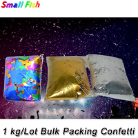 1KG/lot Gold and Silver Mylar Confetti Paper Metallic Confetti Paper For Confetti Cannon Machine in Stage DJ Disco Wedding