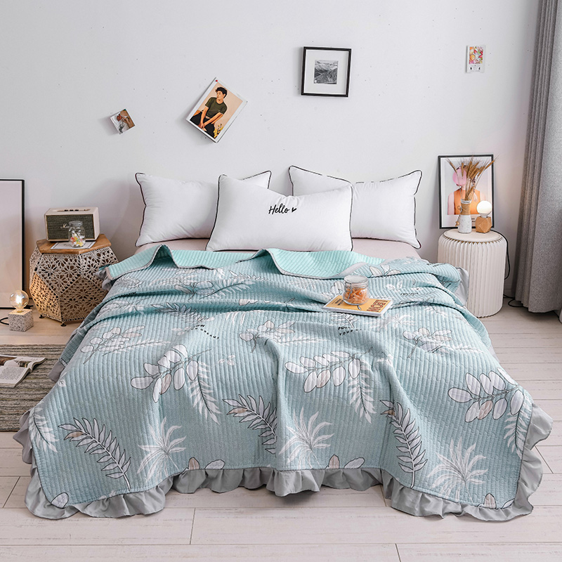 Fresh leaf Printed Quilt Bed Cover Flower Summer Comforter Blanket Blue Pink Bedspread Adult Korean Bedding Home Textile 200*230