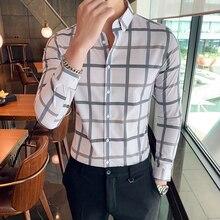 Camisa Masculina Otoño Invierno camisas a cuadros Vestido de manga larga Streetwear para hombre Camisas casuales ajustado ropa Formal blusas hombres