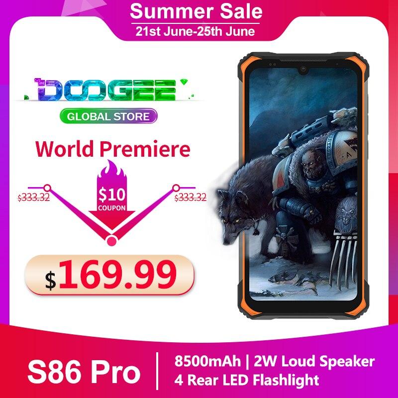 Doogee S86 Pro IP68 прочный смартфон 8500 мА/ч, 6,1 ''8 ГБ + 128 ГБ Helio P60 глобальные диапазоны тройной Камера термометр мобильный телефон