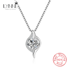 New 925 Sterling Silver Eye Design Rhinestone Pendant Necklace Elegant CZ Water Drop Collarbone Chain Women Fashion Jewelry Gift fresh water pearl pendant necklace for women elegant round hollow out necklace silver lady s collarbone chain wholesale