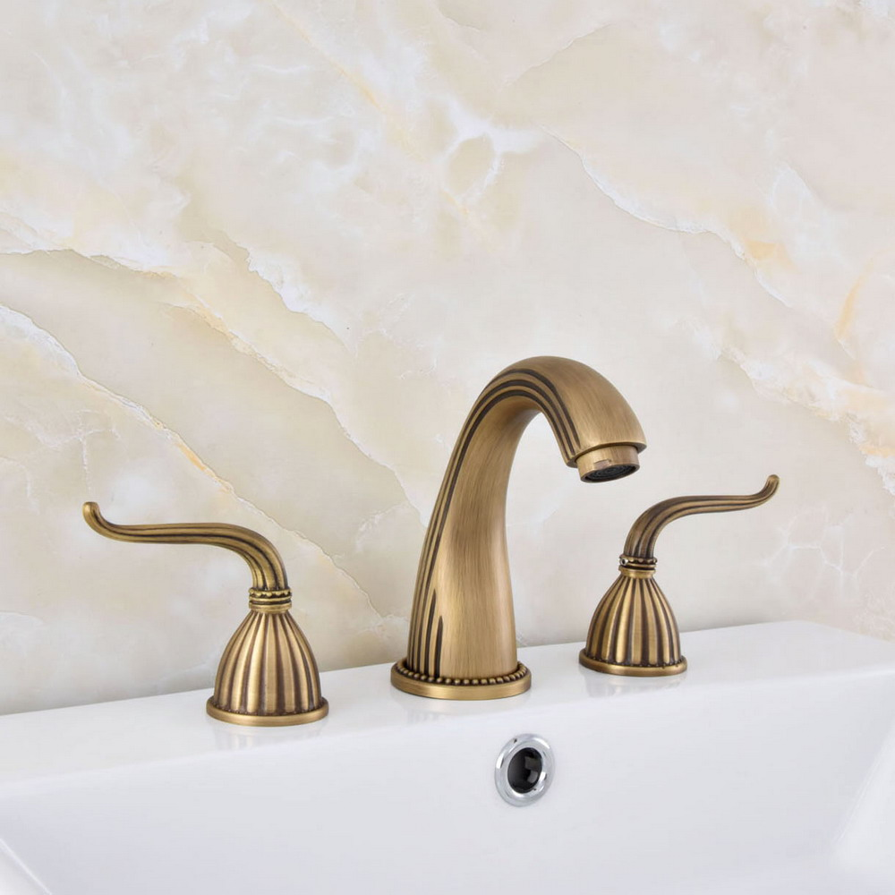 3 Holes Bath Basin Faucet Deck Mount Dual Handles Brushed Brass Water Tap Set US