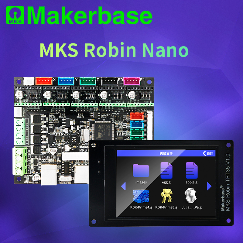 Makerbase mks robin nano v1.2 32bit placa de controle peças impressora 3d suporte marlin2.0 3.5 tft tela toque visualização gcode