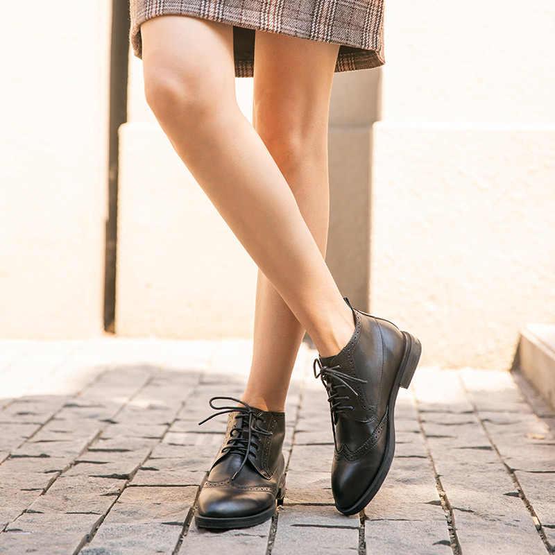 BeauToday yarım çizmeler Brogues kadın hakiki inek deri yuvarlak ayak Wingtip Lace-up bayan moda botları düz topuk el yapımı 03615