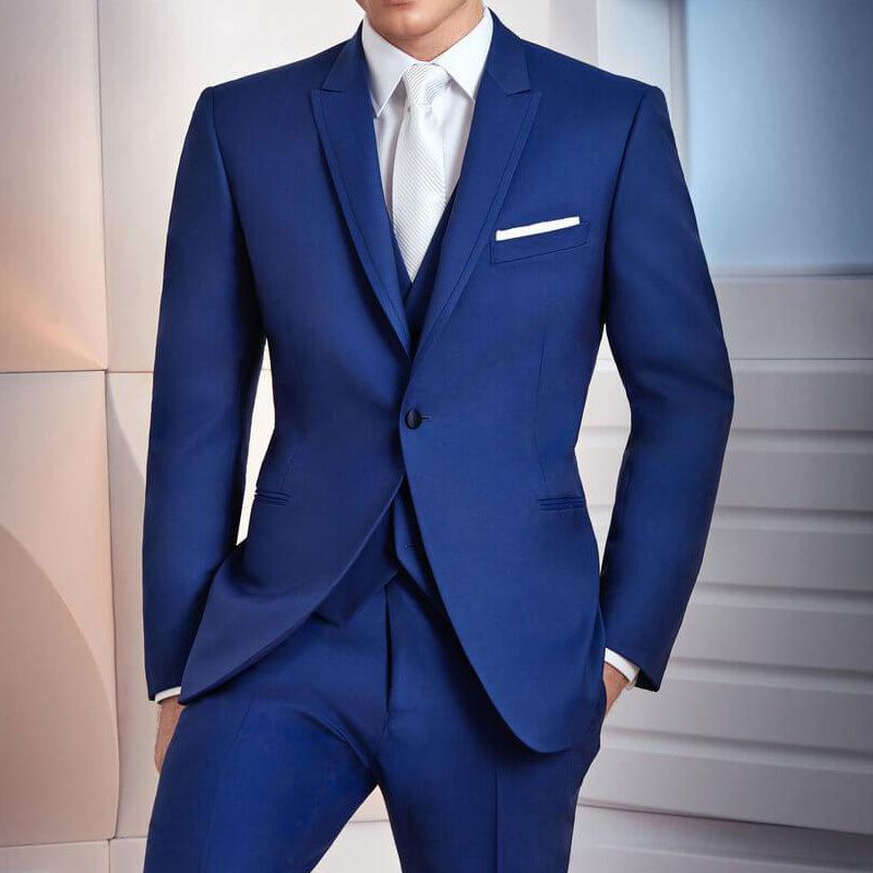 Royal Blue Business Party Men Suits 2020 Three Piece Trim Fit Custom Made Wedding Groom Tuxedos Jacket Pants Vest