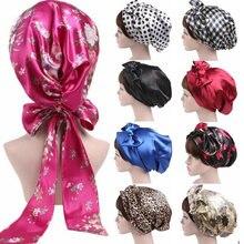 Женская шелковая шапочка для душа ночного сна волос головной