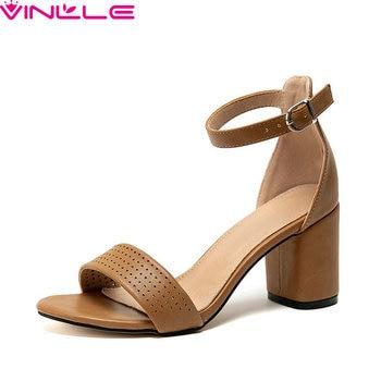 VINLLE 2020 PU Leather Hollow Sandals Summer Buckle Concise Ladies Shoes Square High Heel Fashion Women Pumps Big Size 34-43