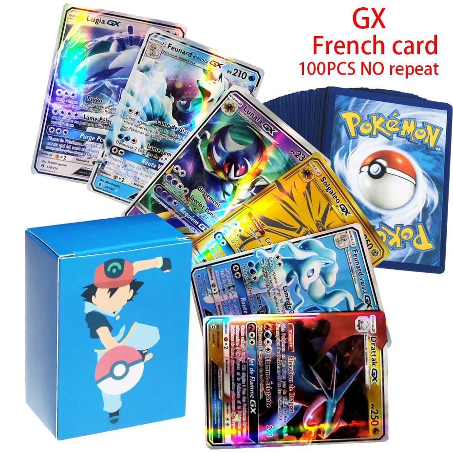 Карты покемона V GX MEGA TAG, 10-100 шт., французская версия, боевые карты команды EX