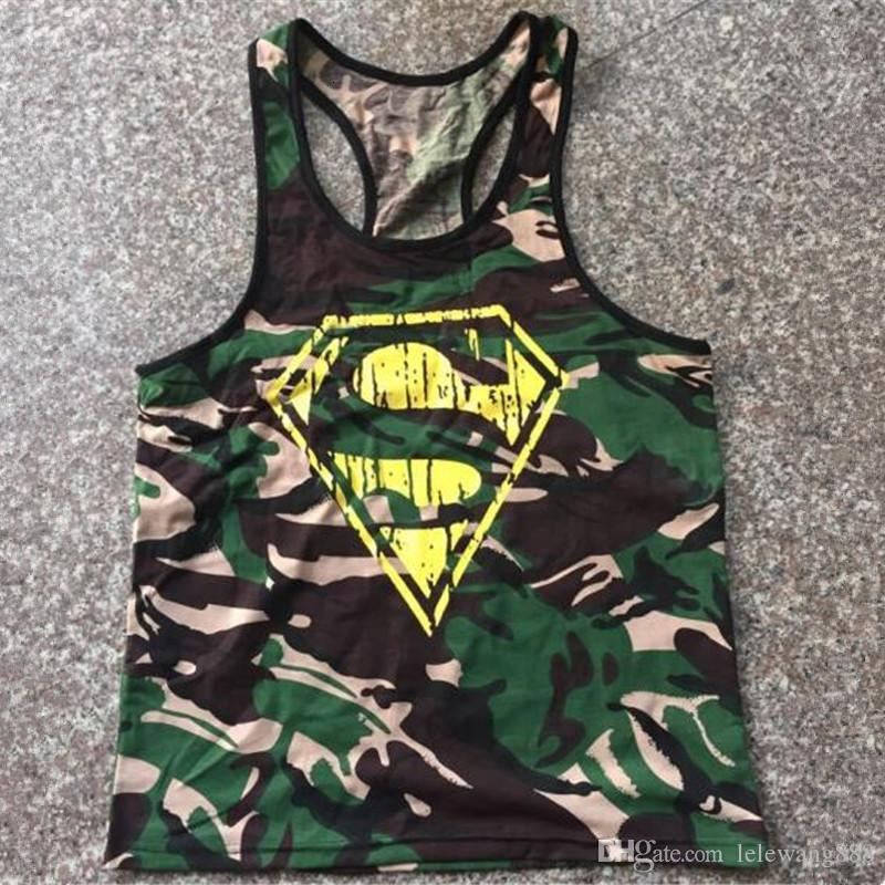 Europe US Men diamond Superman print Vests gym sports Active brave soldier army male green camouflage printing Camis   Tank     Tops