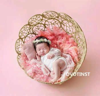 Dvotinst Baby Photography Props Iron Basket Frame Accessory Fotografia Accessories Infantil Toddler Studio Shooting Photo Props