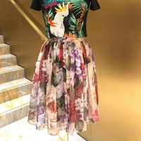 Summer Dress Skirt Hundred Flowers Printed Silk Two Piece Skirt Lace Silk Lining