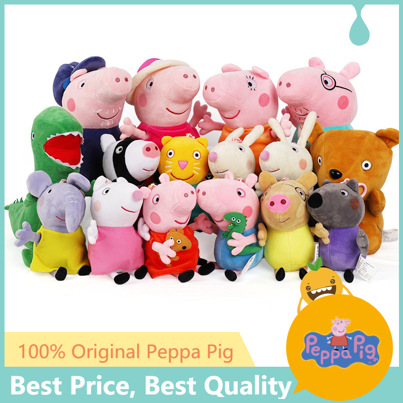 Original Peppa Pig 19 Cm Peppa George Family Plush Toy With Pet Teddy Bear / Dinosaur Boy Girl Birthday Gift Toys