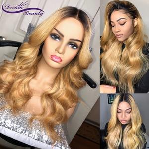 Image 2 - Blonde Ombre 27 Farbe tiefe teil 13x6 Vordere spitze perücke Remy Haar Brasilianische Körper Welle Menschliches Haar Perücken mit Baby Haar Traum Schönheit