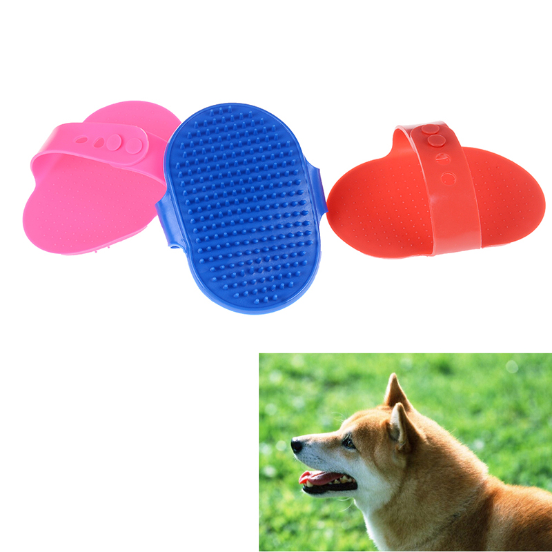 New 1pc Pet Bath Massage Brush Rubber Dog Cat Hair Fur Grooming Comb Styling Tools Red Pink Blue