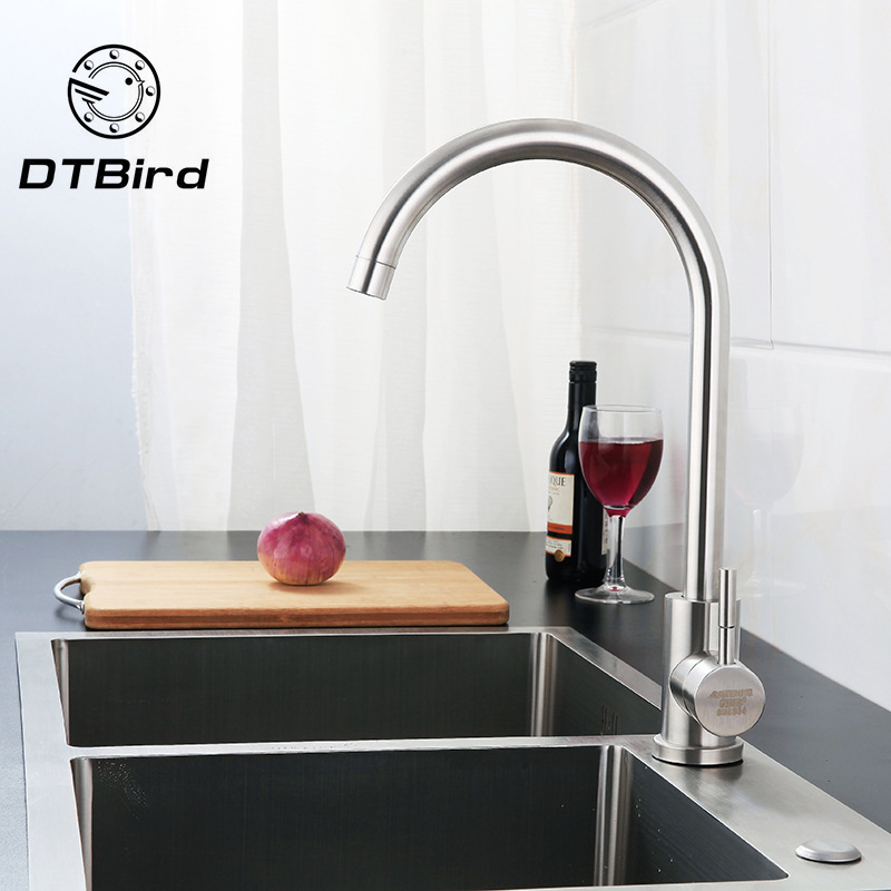 304 Stainless Steel Kitchen Washing Basin Sink Can Rotate Large Bend Drawing Kitchen Cold And Hot Mixing Single Handle Faucet