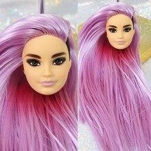 НОВЫЙ РЕДКИЙ Головы Куклы игрушки хорошего головы для макияжа розовые волосы Кен принц голова куклы длинные волосы мужской голова куклы Ко...