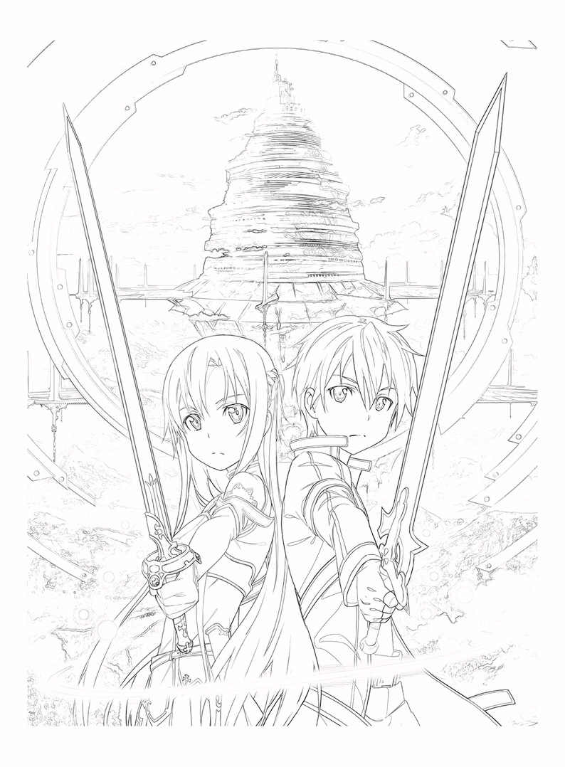 24 Pages Book Anime Sword Art Online Coloring Book For Children Sao Kirito Asuna Painting Drawing Books A4 Imitated Copy Book Drawing Toys Aliexpress