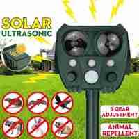 Repelente animal solar ultra-sônico da movimentação do flash da luz infravermelha do cão & do gato repelente animal multifuncional