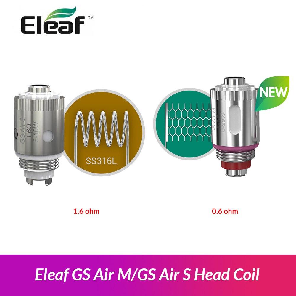 Original Eleaf GS aire M 0 6ohm/GS aire S 1.6ohm cabeza bobina para Eleaf programa de asistencia inmediata y pod yoga Max kit del arrastre Nano pod vape kit