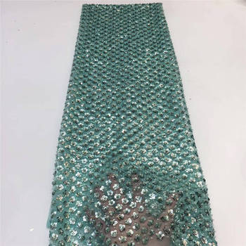 Latest African Lace Fabric 2020 High Quality African French Net Laces With Sequins Embroidery Tulle Lace For Wedding KJL9733