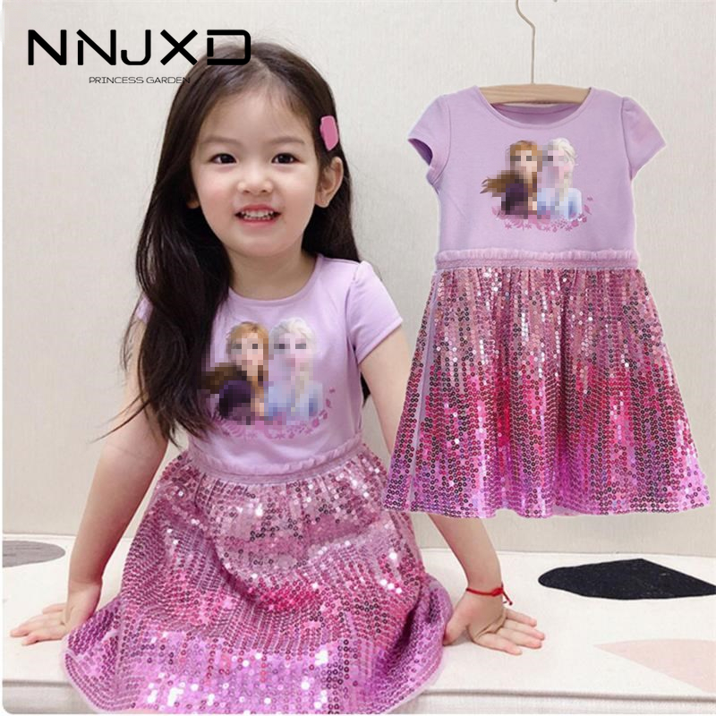 Elsa 2 Baby Girls Kids Princess Summer Sequins Dresses Toddler Cospaly Dress Girl Tutu Teen Birthday Gown Party Clothes Vestidos