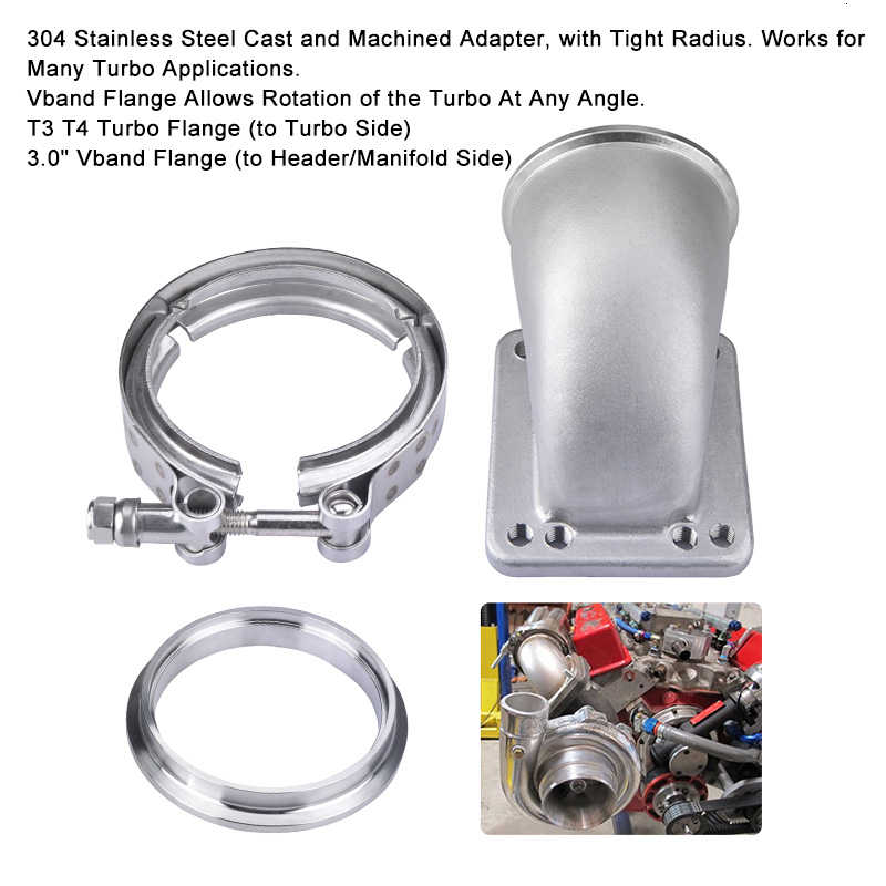 3 Inch V Band T3 /& T4 Turbocharger Cast Stainless 90 Degree Elbow Adapter Flange