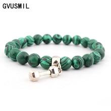 GVUSMIL Unisex Wrist Mala Natural Stone Bracelets Jewelry 8mm Round Lave Quartz Buddhist Yoga