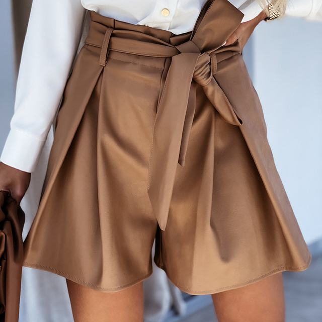 MOARCHO Casual High Waist Sashes PU Leather Shorts Woman Elastic Waist Solid Office Daily Short 2021 New Spring 1