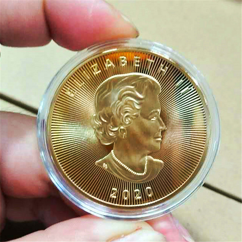 Canada 20 Dollars Gold Coins Canadian Maple Leaf Commonwealth Queen Coin Commemorative Copy Coin Gift Token Drop shipping