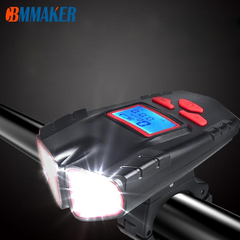 Waterproof bicycle Light USB Charging bike Light Flashlight Handlebar cycling Head Light Speed Meter LCD Screen Bike Accessories