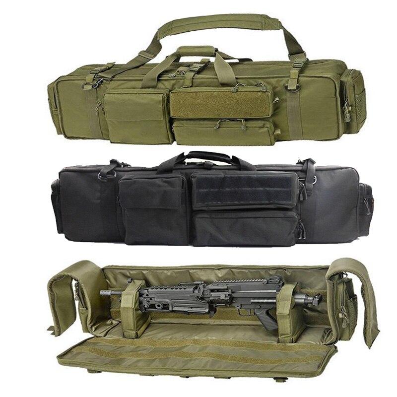 Askeri silah çantası sırt çantası çift tüfek çantası kılıfı testere M249 M4A1 M16 AR15 Airsoft karabina taşıma çantası ile omuz askısı