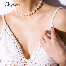 New 2019 Simple Pearl Necklace White Heart Beads Party Necklace Pendant Choker Femme Fashion Wedding Jewelry For Girl Gift(China)