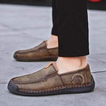 2019 otoño zapatos casuales de cuero de los hombres Vintage hecho a mano mocasines mocasín para hombre antideslizante de goma zapatos planos zapatos casuales zapatos de los hombres HH-1169