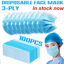50/100Pcs 3 Layers Non-woven Face Mask Surgical Dental Bad S