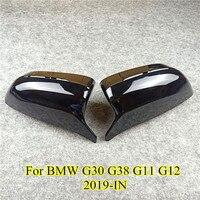 Fibra de carbono m olhar tipo espelho capa para g11 g12 lhd traseira side view caps espelho capa para 5 7 series g30 g38 g11 g12 2017 +