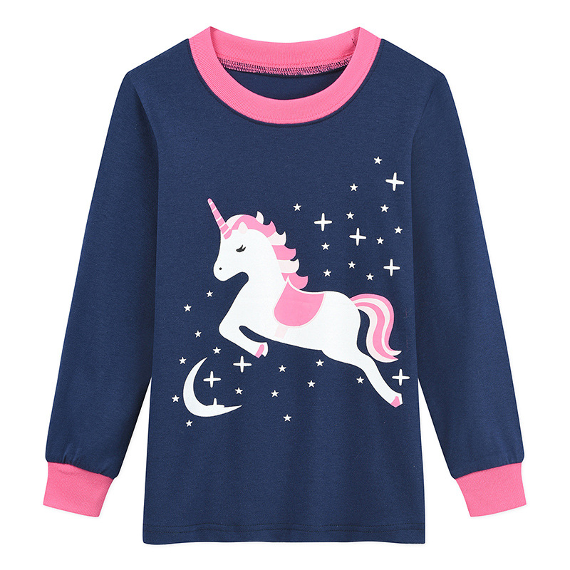 Europe And America New Style Unicorn Printed Children Tracksuit Long Sleeve Autumn And Winter Children Pajamas Suit
