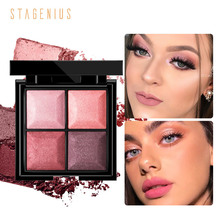 STAGENIUS 4 colors Glitter Eyeshadow Natural Professional High Pigment Long Lasting Eye