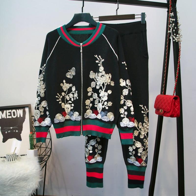 Роскошный брендовый дизайнерский подиумный комплект из 2 предметов для женщин, винтажный комплект с круглым вырезом и вышитыми цветами, вяз...
