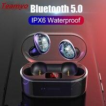 Teamyo 2019 Bluetooth 5.0 Wireless Earphone Headphones IPX6 Waterproof Hifi Stereo Sport Earbuds Headset With Mic Charging Box