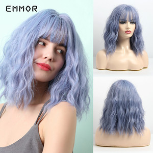 EMMOR 14 Inch Synthetic Short Omber Blue Water Wave Hair Wig with Neat Bangs for Women Heat Resistant Bob Cosplay Party Wigs(China)