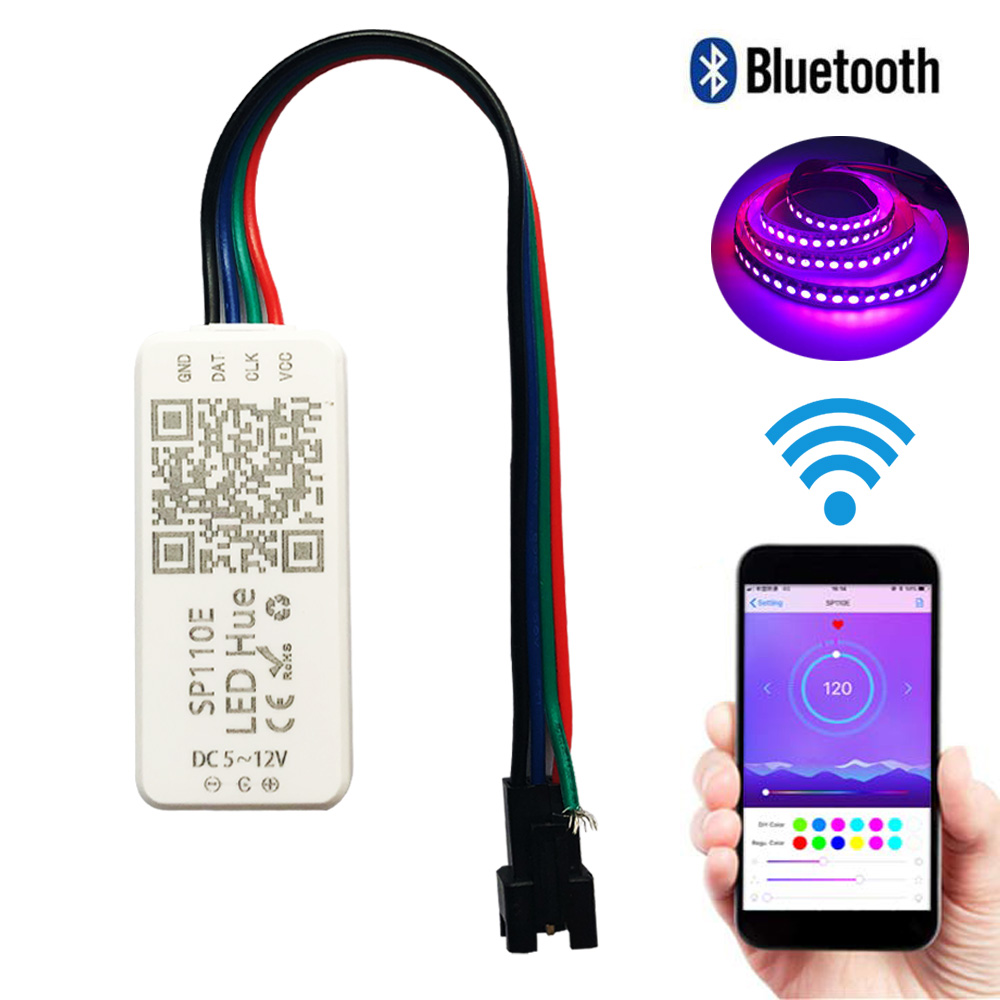 SP110E SPI Bluetooth Full Color Pixel Light Controller By Smart Phone APP For WS2812B SK6812 RGBW LPD88061903 RGB/RGBW DC5-12V