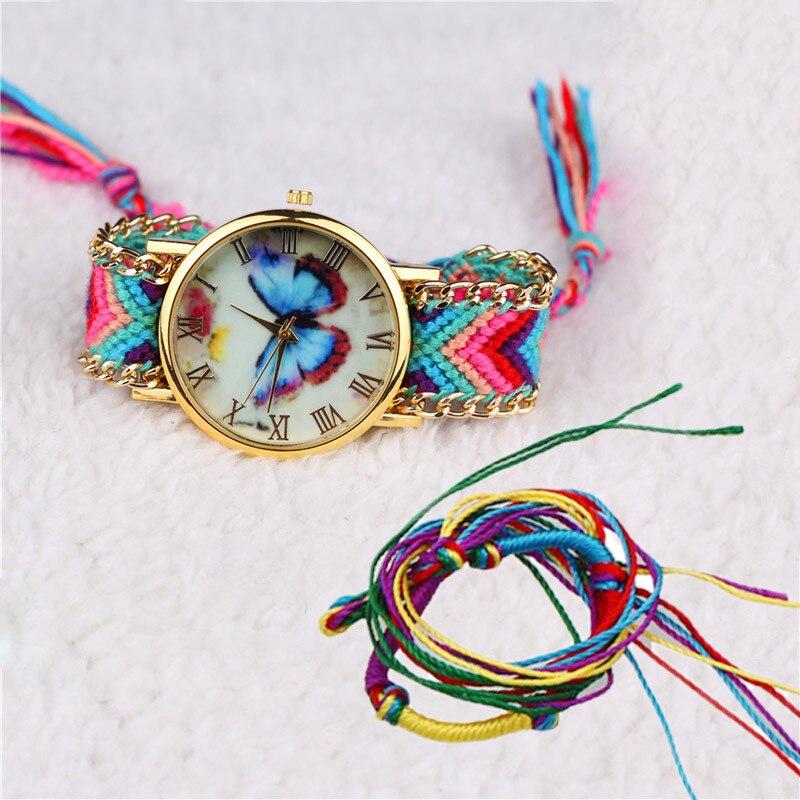 2019 New Arrival Women Watch Girl Handmade Braided Butterfly Bracelet Dial Quarzt Watch Dress Wristwatch Relogio Masculino