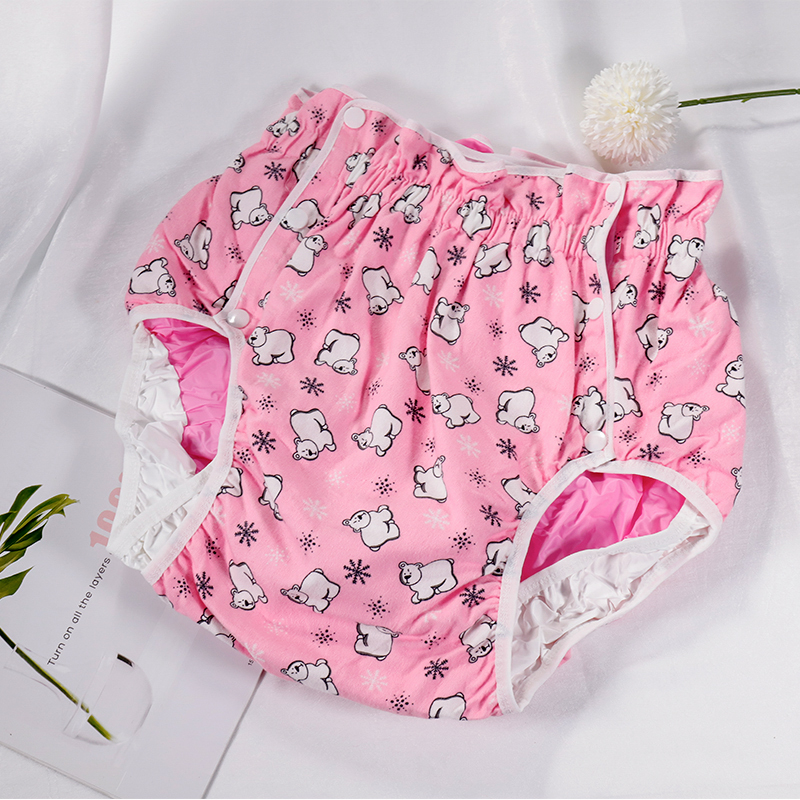 Free Shipping FUUBUU2215-Polar Bear-XL Adult Baby Diaper Adult Baby Plastic Pants For Babies Pants Adult Baby Onesie Abdl