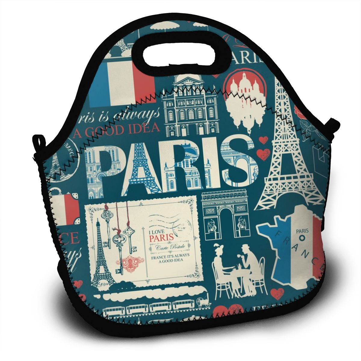 Portable Lunch Bag Paris Symbols Seamless Pattern Women Reusable Lunch Bags For Work Pinic Travel 2020 Casual Handbags