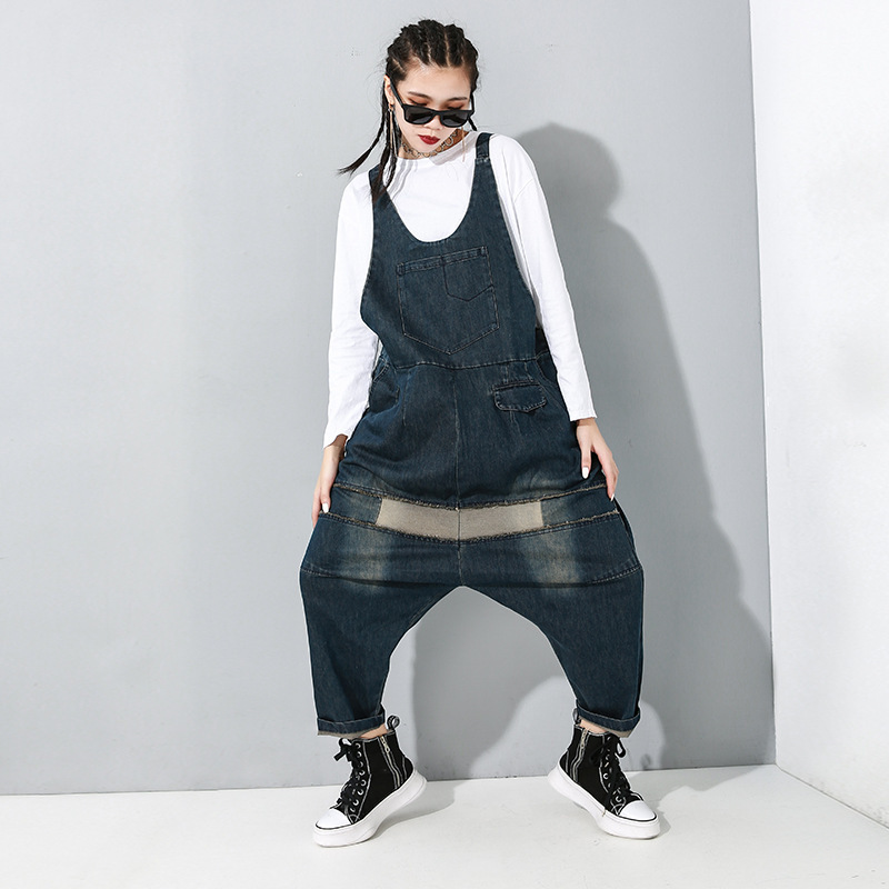 Female Casual Jeans Female Free Size Playsuits High Street Loose Overalls For Women Trend Spliced Patchwork Crotch Pants Z3