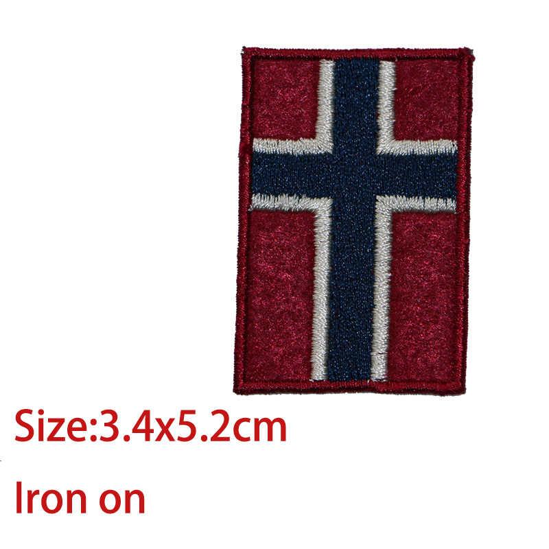 مجموعة من المبيعات الكبيرة والمتوسطة والصغيرة علم النرويج أيقونة الزخرفية التصحيح نمط المطرزة زين التصحيح DIY بها بنفسك الحديد على شارات