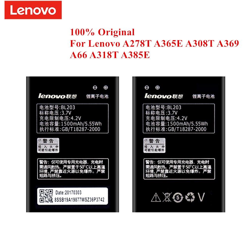 100% Original Battery BL203 for Lenovo A278T A365E A308T A369 A66 A318T A385E A269 A300 A238T 1500mAh Real Capacity Akku